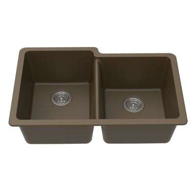 Undermount Granite Composite 33 in. L 40/60 Offset Double Bowl Kitchen Sink in Mocha