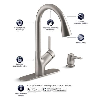 Lyric Workstation 33 in. Dual Mount Stainless Steel Double Bowl Kitchen Sink with Setra Smarthome Kitchen Faucet