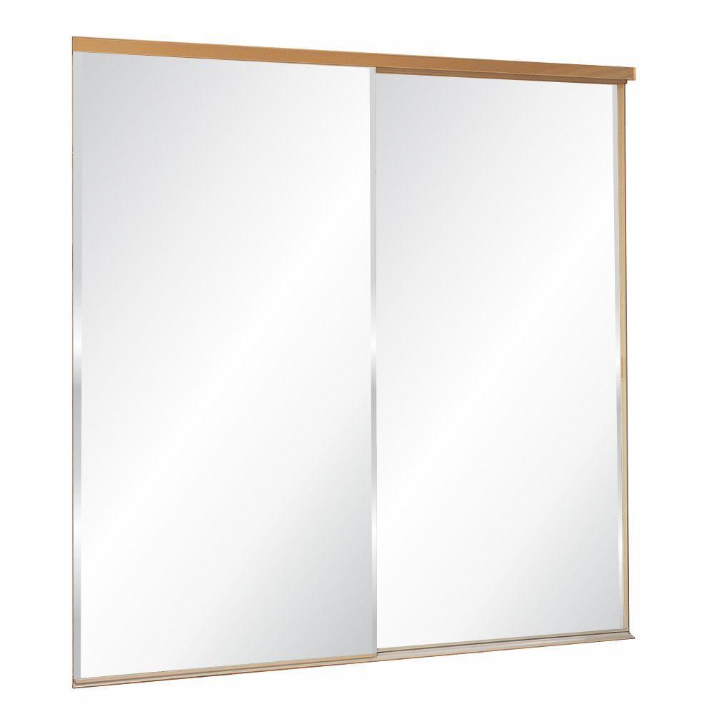 325 Series Steel White Frameless Mirror Sliding Door