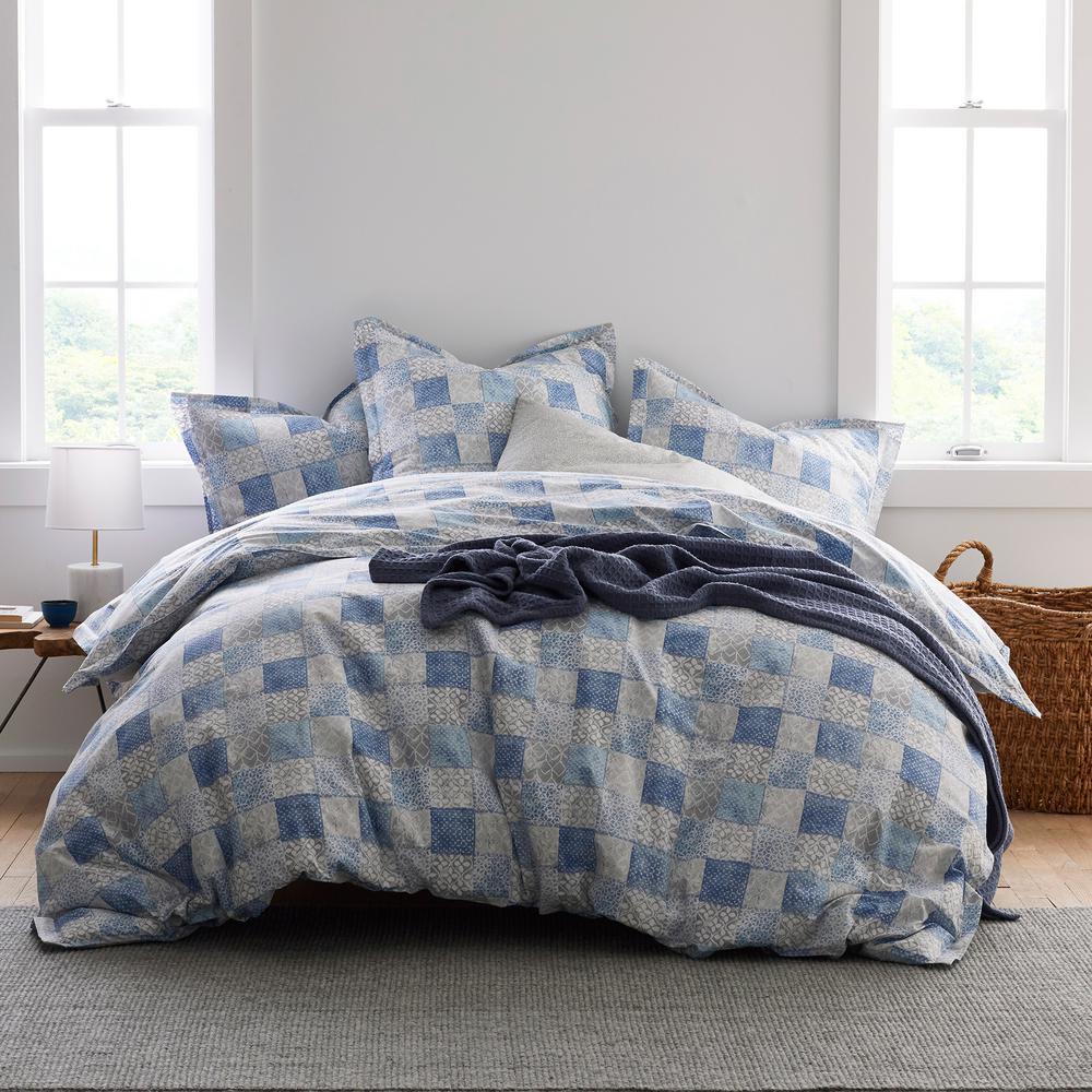 Hadley LoftHome Geo 250-Thread Count Cotton Percale Queen Duvet Cover