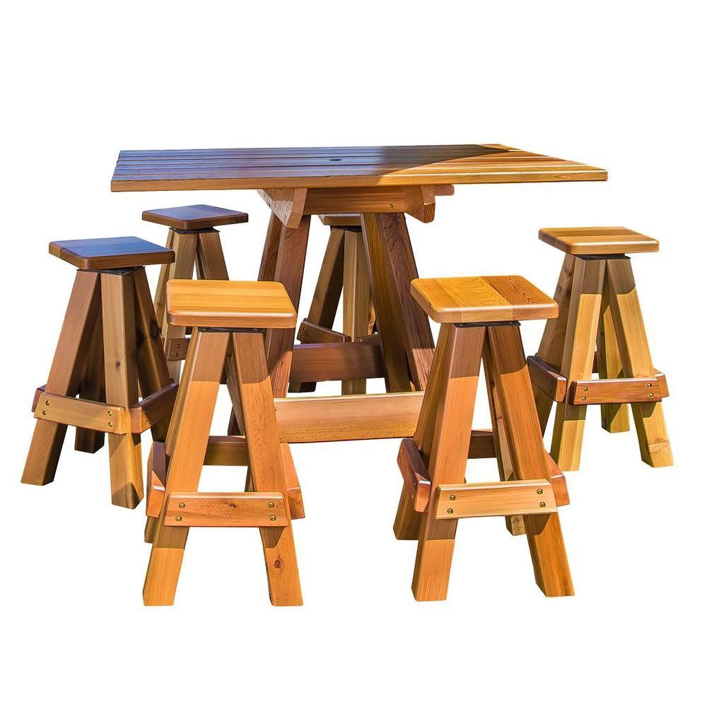 6-Person Picnic Patio Bar Top Table