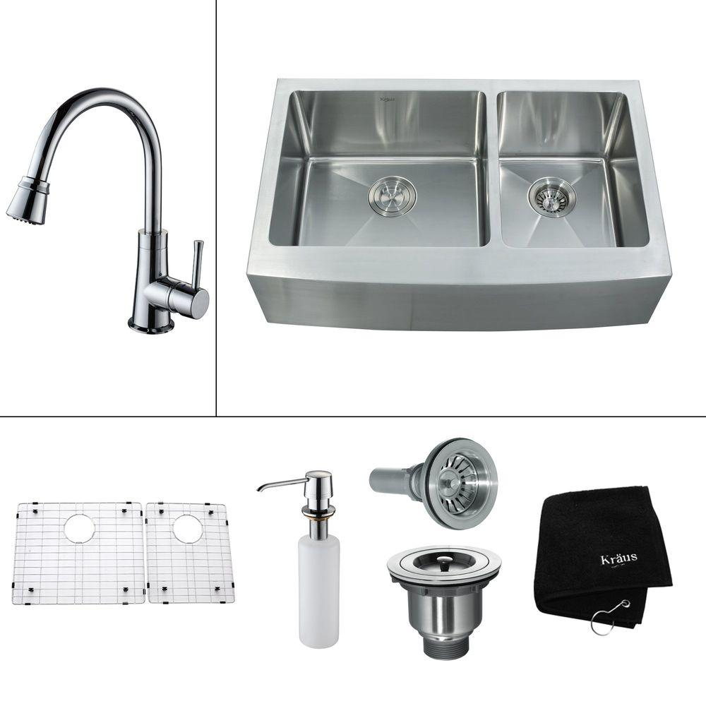 KRAUS All-in-One Farmhouse 32.9x20.75x13.5 0-Hole Double Bowl Kitchen Sink with Chrome Accessories