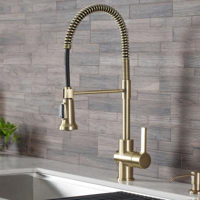 Britt Single-Handle Pull Down Sprayer Kitchen Faucet in Brushed Gold