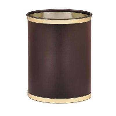Sophisticates 13 Qt. Brown and Polished Brass Oval Waste Basket