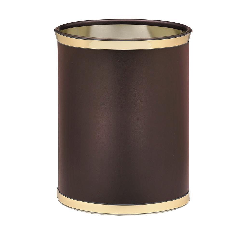 Sophisticates 13 Qt. Brown and Polished Brass Oval Waste Basket