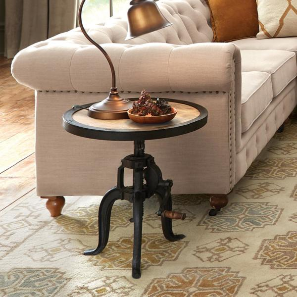 Home Decorators Collection 36 In Natural Reclaimed Medium Round Wood Coffee Table With Adjustable Height Hdc 2004 The Home Depot