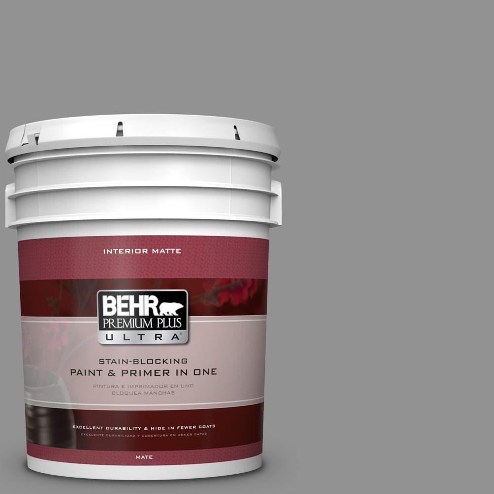 BEHR Premium Plus Ultra 5 gal. #N520-4 Cool Ashes Matte Interior Paint