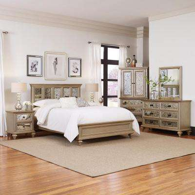 Visions 5 Piece Silver Gold Champagne Finish Queen Bedroom Set