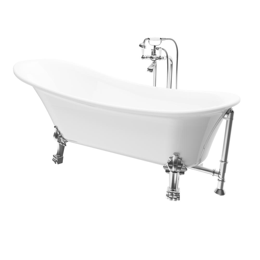 Renwil Achilles 69 In. Acrylic Ball And Clawfoot Slipper Non Whirlpool Bathtub  In White