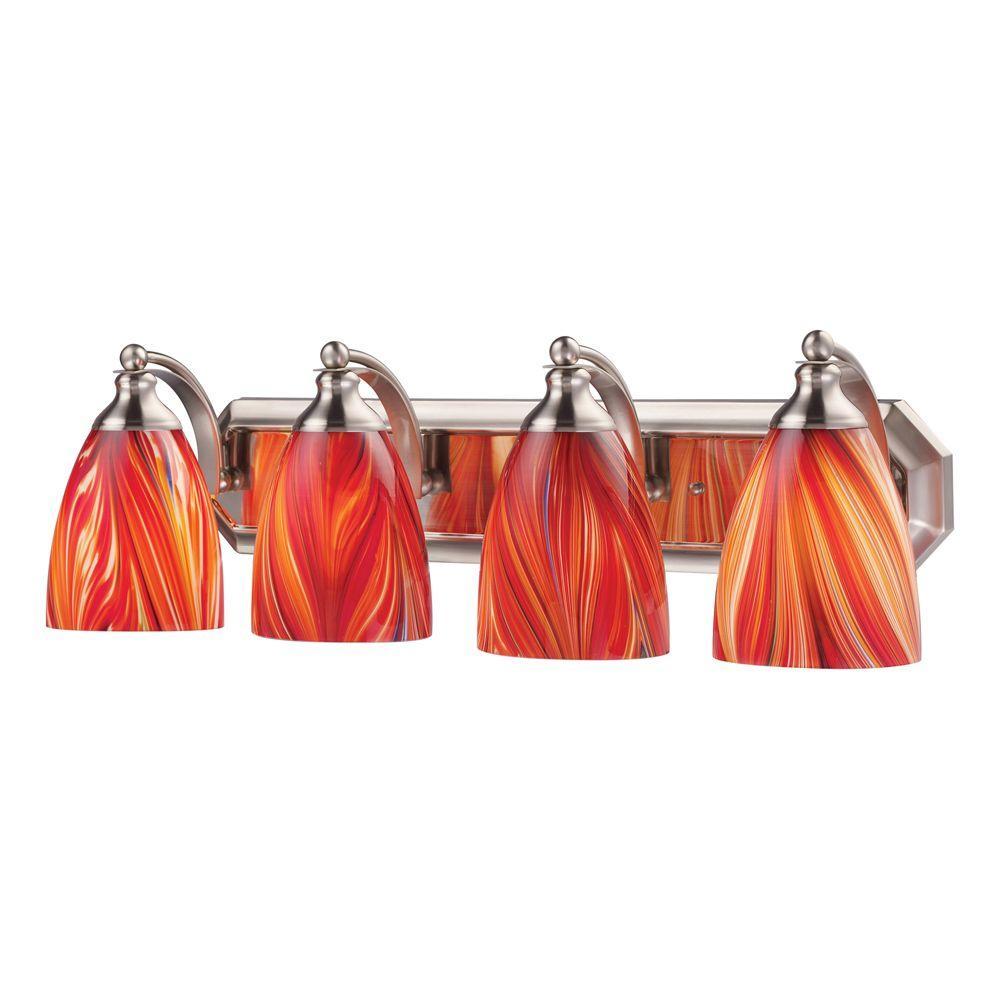4-Light Satin Nickel Vanity Light with Multi Glass