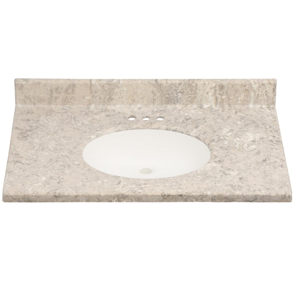 Us Marble 37 In Cultured Granite Vanity Top Fawn Color With Integral Backsplash And