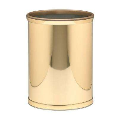Mylar 13 Qt. Polished Brass Oval Waste Basket