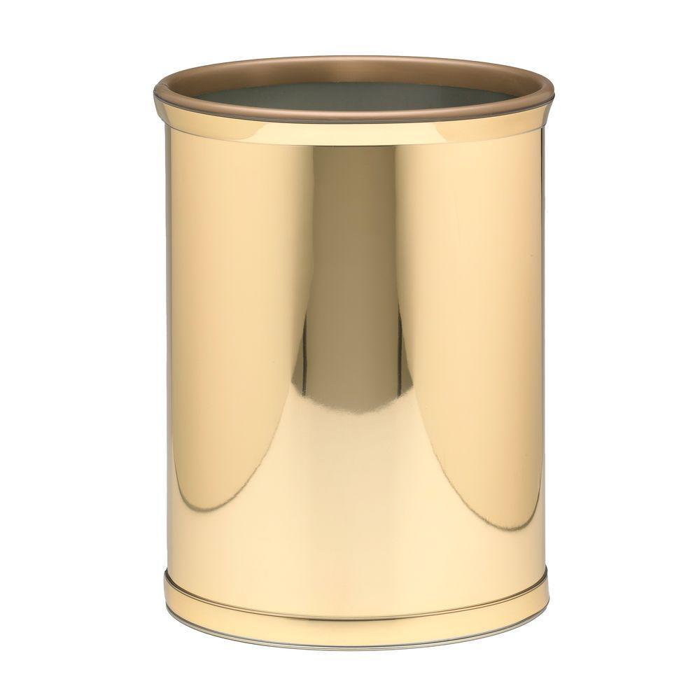 Kraftware Mylar 13 Qt. Polished Brass Oval Waste Basket