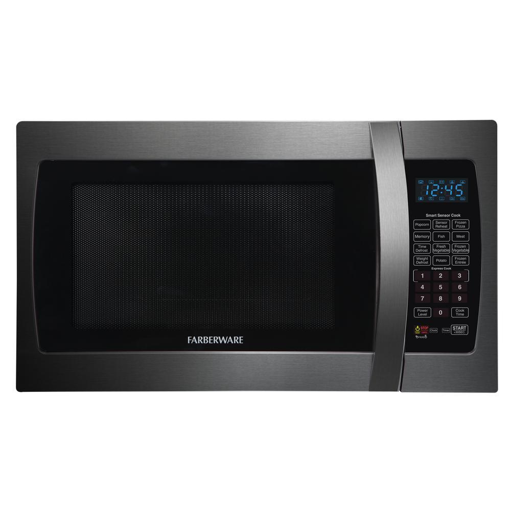 Black 1.3 cu. ft. 1100-Watt Countertop Microwave in Stainless Steel with Smart Sensor Cooking