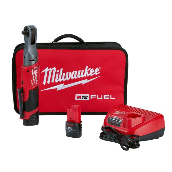 M12 FUEL 12-Volt Lithium-Ion Brushless Cordless 3/8 in. Ratchet Kit with (2) 2.0Ah Batteries, Charger & Tool Bag