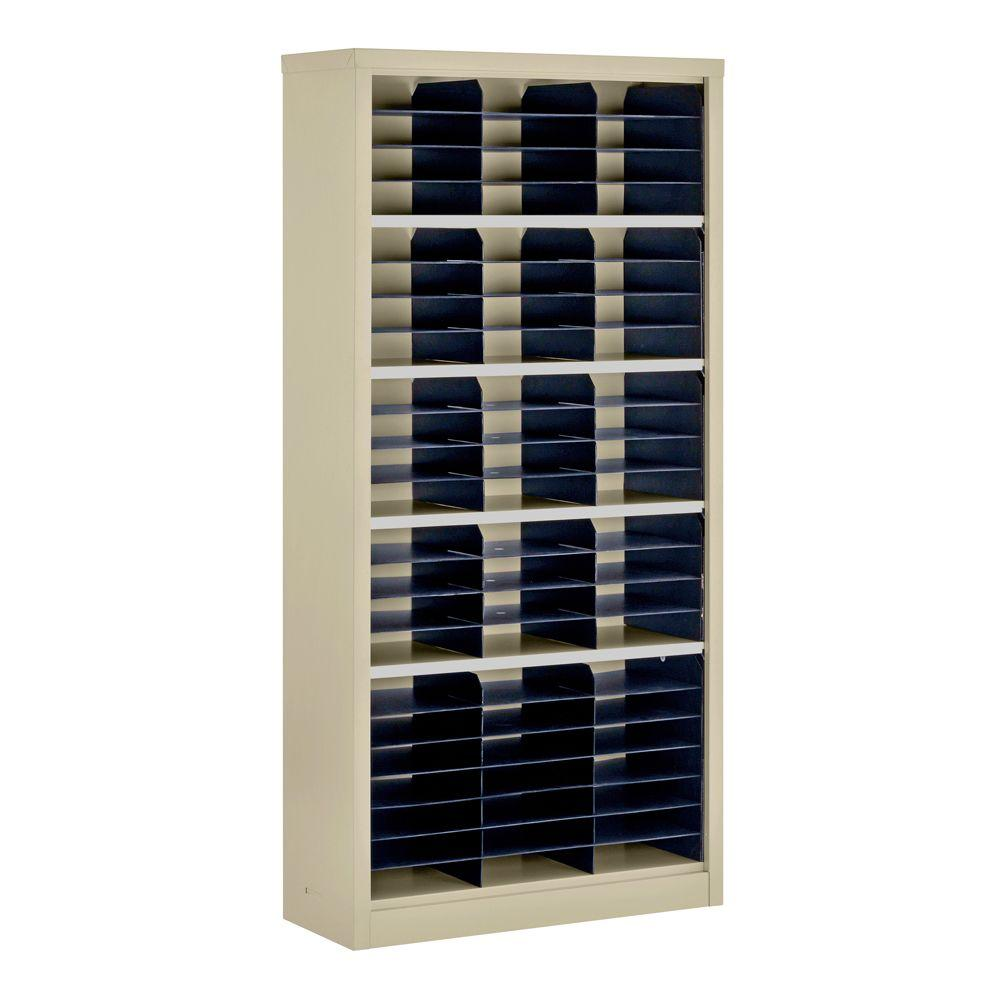 Sandusky 72 in. H x 34.5 in. W x 13 in. D Steel Commercial Literature Organizer Shelving Unit in Putty