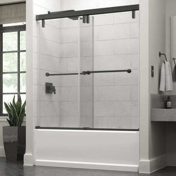 Everly 60 in. x 59-1/4 in. Mod Semi-Frameless Sliding Bathtub Door in Bronze and 3/8 in. (10mm) Clear Glass