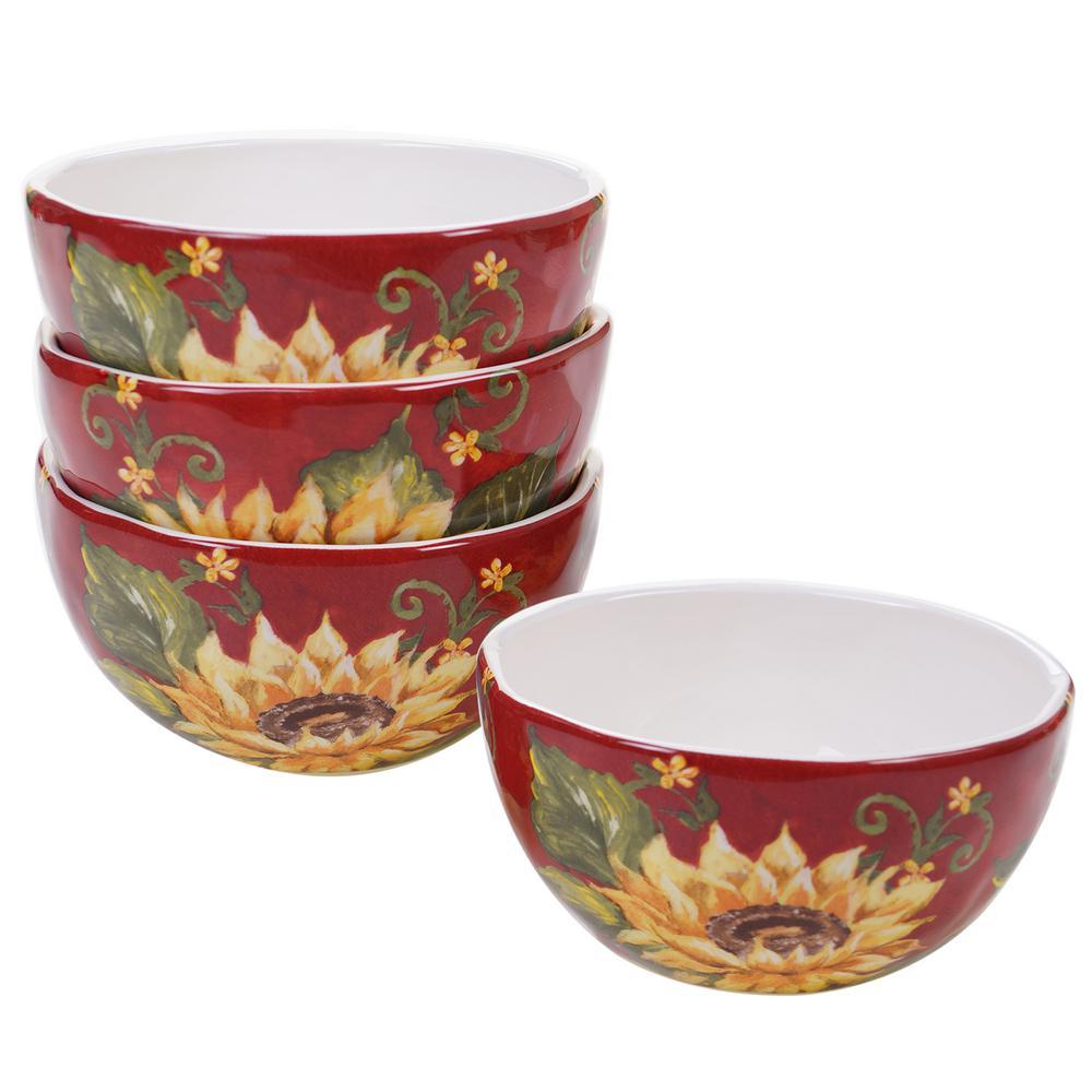 Sunset Sunflower Multi-color Ice Cream Bowl (Set of 4)