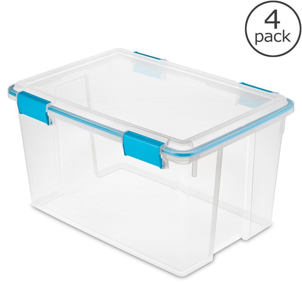 sterilite 54 qt gasket storage box 4 pack 19344304 the home depot. Black Bedroom Furniture Sets. Home Design Ideas