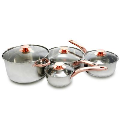 Ansonville 8-Piece Stainless Steel Cookware Set in Stainless Steel and Rose Gold