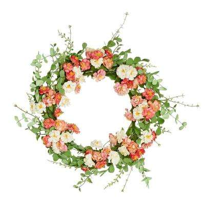 22 in. Pastel Flower Wreath