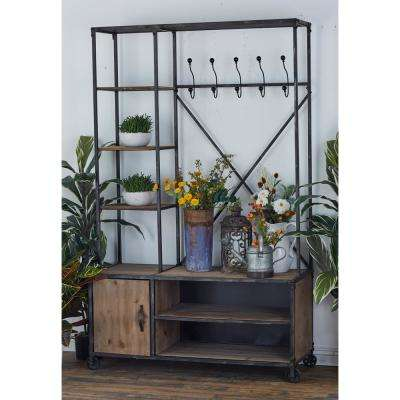 Brown Wooden Metal Clothes Rack with Multi-Tiered Compartments