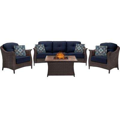 Gramercy 4-Piece Woven Patio Seating Set with Tile-Top Fire Pit and Premium Sunbrella Navy Blue Cushions