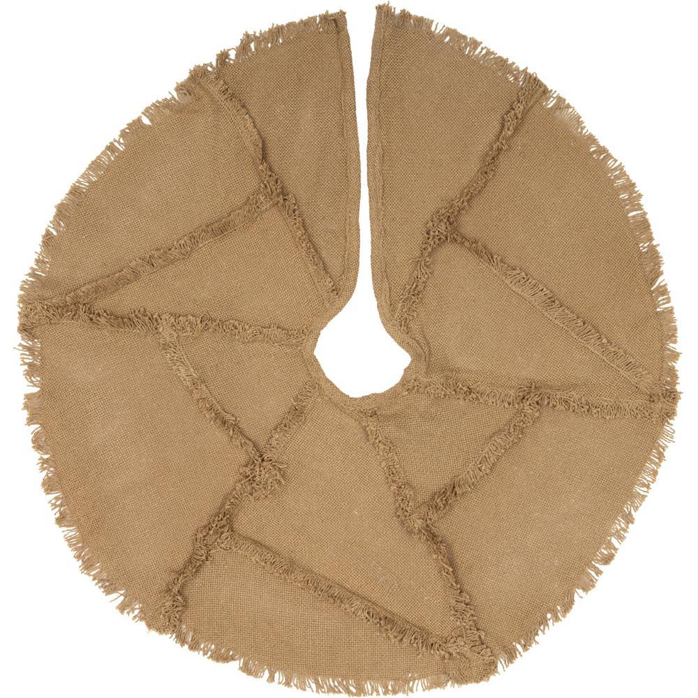 21 in. Burlap Natural Tan Farmhouse Christmas Decor Reverse Seam Mini Tree Skirt