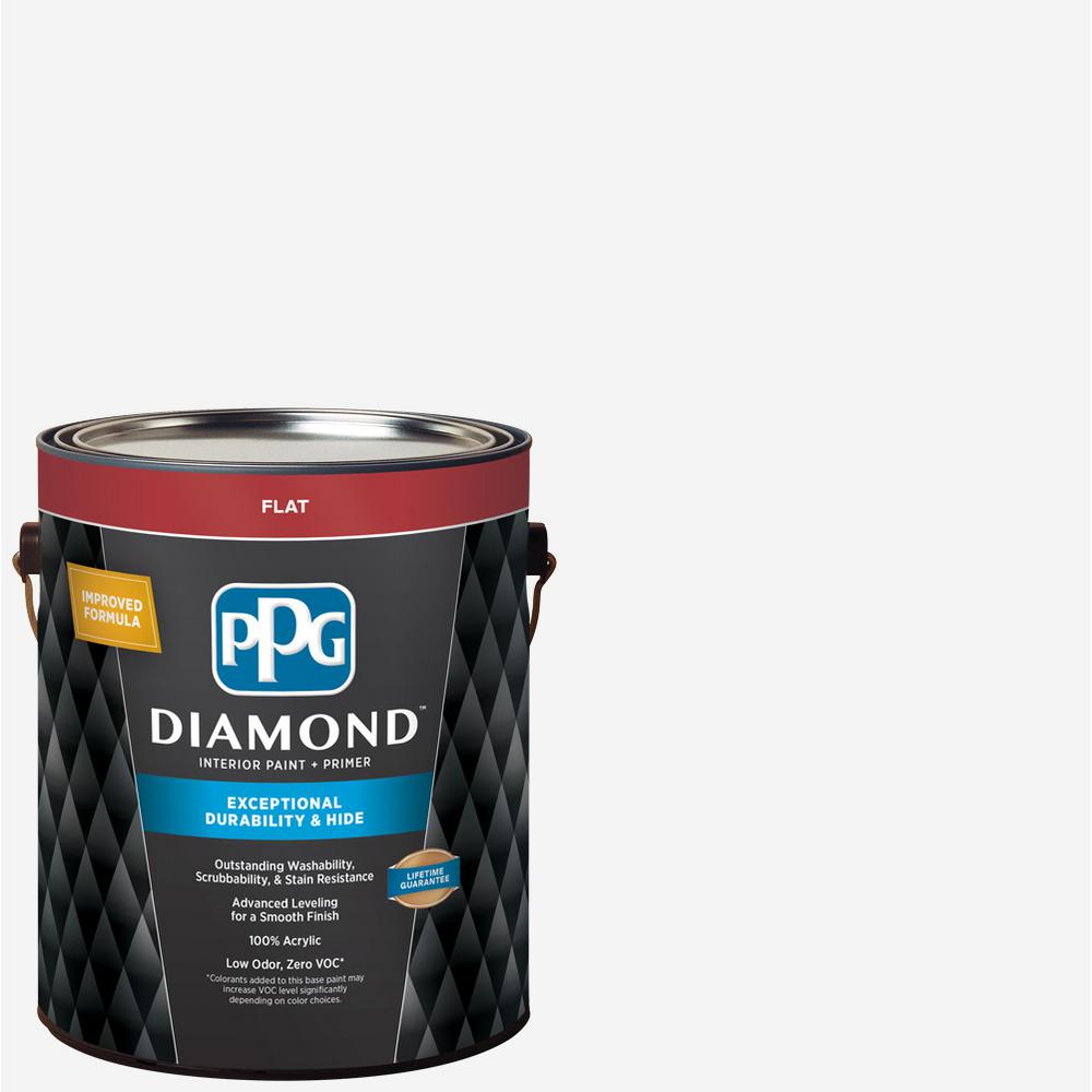 f39352b729f PPG Diamond 1 gal. Pure White Base 1 Flat Interior Paint with Primer ...
