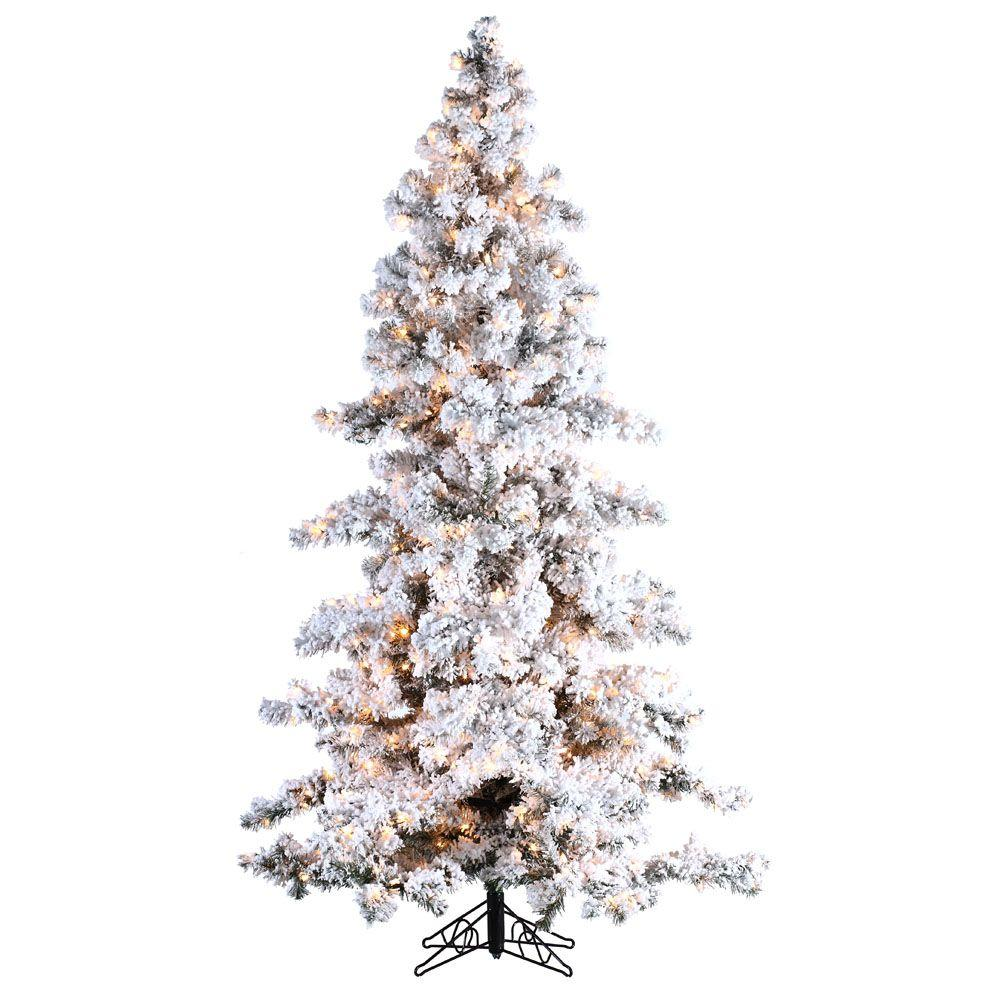 Sterling 7.5 ft. Pre-Lit Heavy Flocked White Spruce Artificial Christmas Tree with Clear Lights