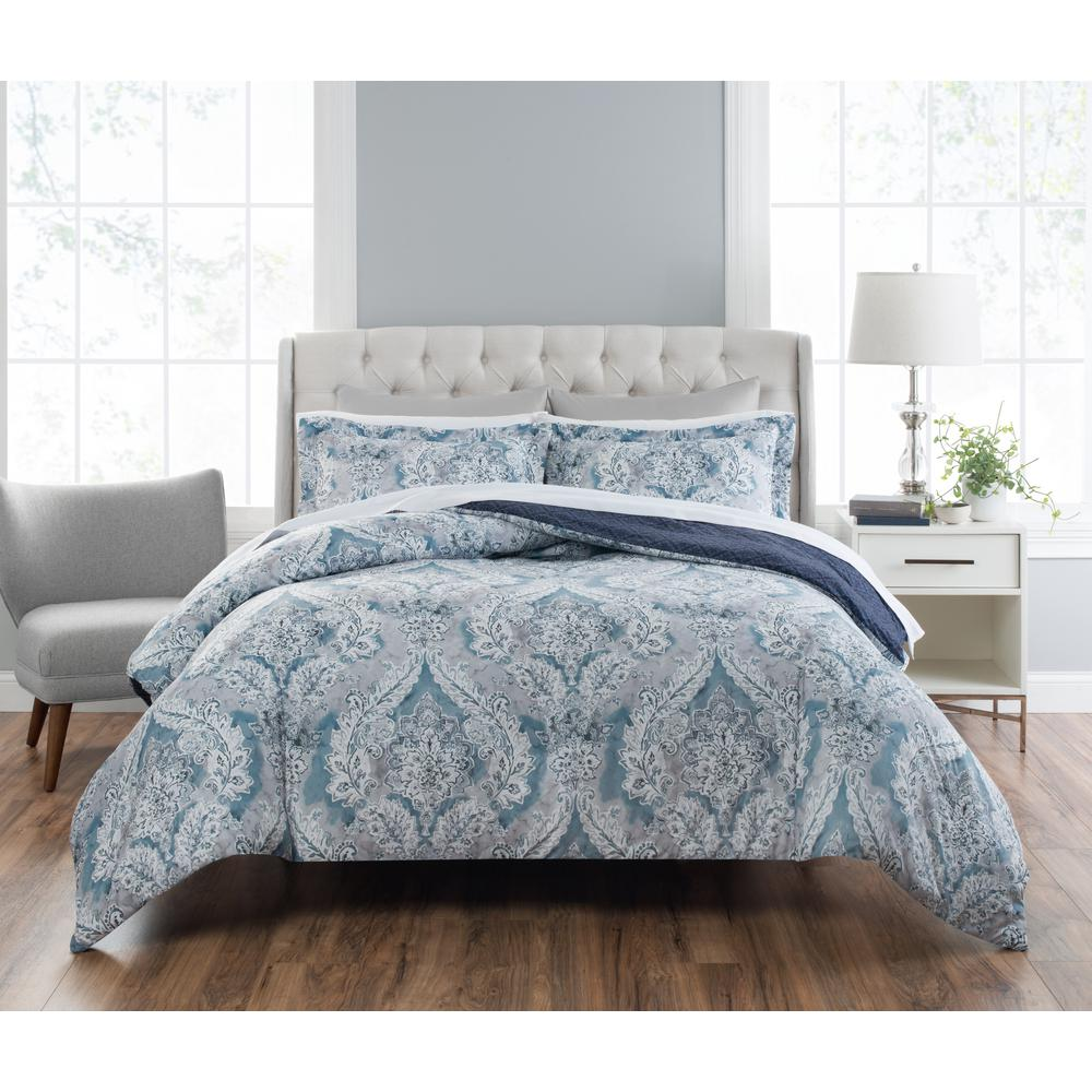 Nicole Miller Colletta 3 Piece Printed Blue Multi King Comforter Set