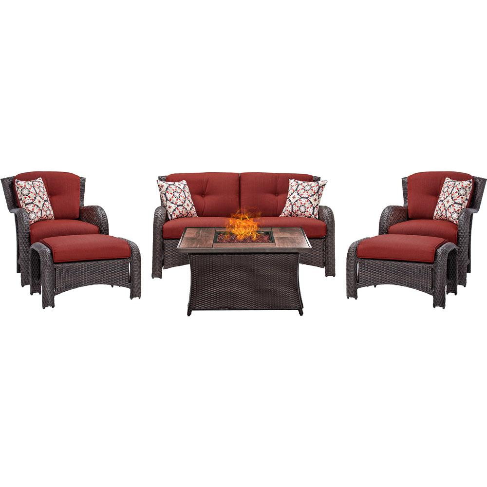 Strathmere 6-Piece Woven Wicker Patio Seating Set with Wood Grain-Top Fire