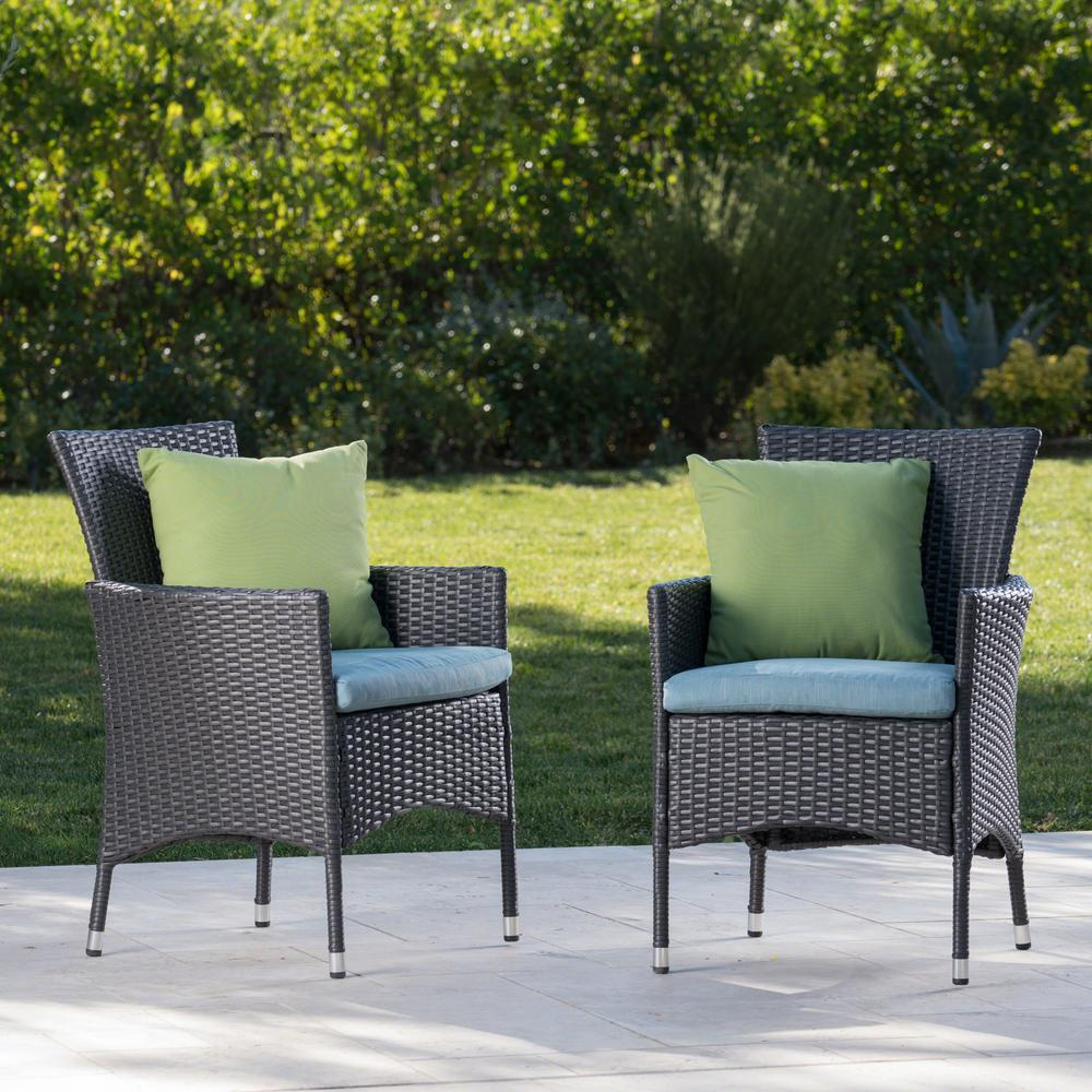 Kitchen Stools Malta: Noble House Malta Gray Wicker Outdoor Dining Chairs With