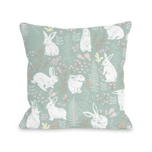 Easter Bunny Print Green multi 16 inch x 16 inch Decorative Pillow by