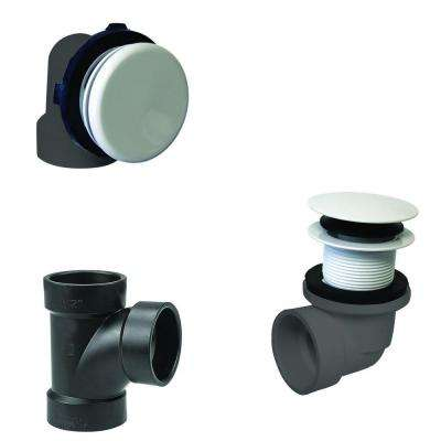 Illusionary Overflow, Sch. 40 ABS Plumbers Pack with Tip-Toe Bath Drain in Powder Coat White