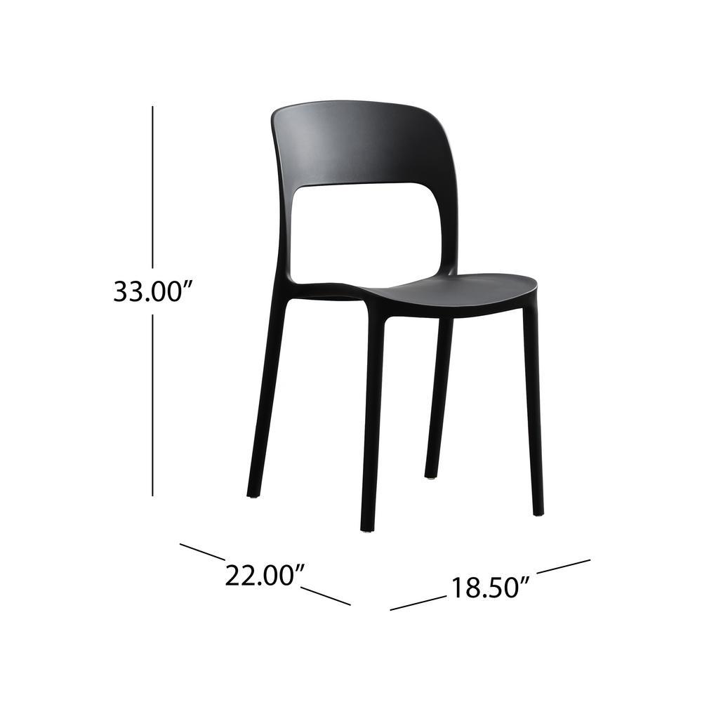 Fine Noble House Kipford Black Plastic Armless Chairs Set Of 2 Inzonedesignstudio Interior Chair Design Inzonedesignstudiocom