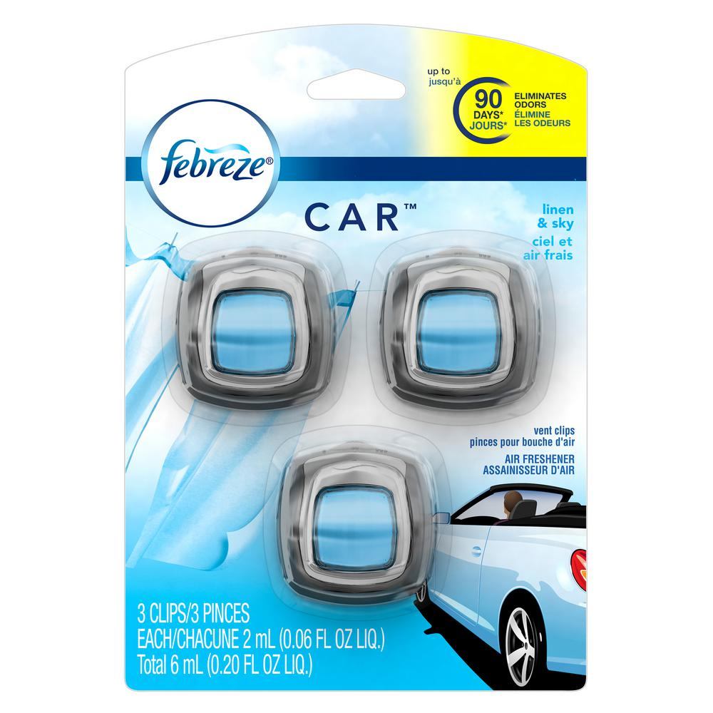 0.06 oz. Linen and Sky Car Vent Clip Air Freshener (3-Pack)