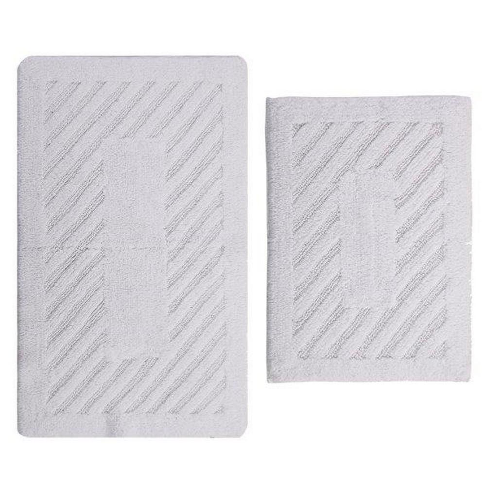White 17 In. X 24 In. And 21 In. X 34 In. Diagonal Racetrack Reversible Bath Rug Set (2 Piece)