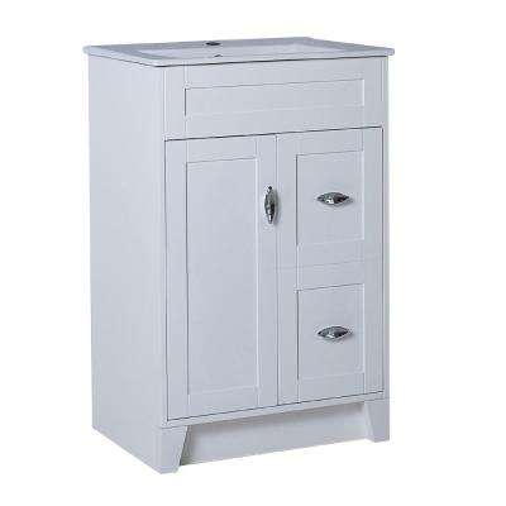 Cordelia 24 in. W x 18 in. D x 36 in. H Single Vanity in White with Ceramic Vanity Top in White with White Basin