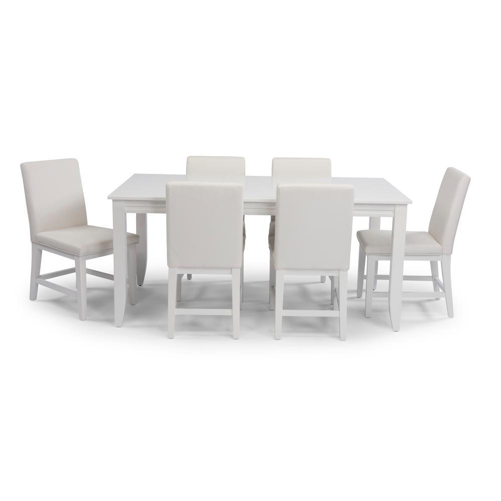 Linear 7 Piece White Rectangular Dining Set