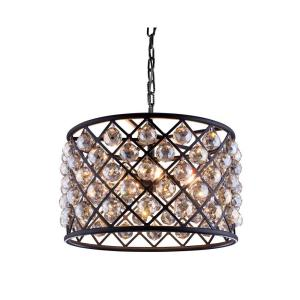 Elegant lighting industrial 1 light antique brass pendant lamp madison 6 light mocha brown chandelier with golden teak smoky crystal aloadofball Gallery