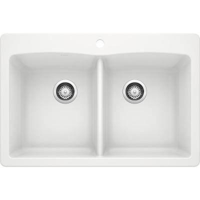 DIAMOND Dual Mount Granite Composite 33 in. 1-Hole 50/50 Double Bowl Kitchen Sink in White