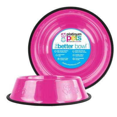 Platinum Pets Embossed Non-Tip Stainless Steel Cat/Dog Bowl, Bubble Gum Pink