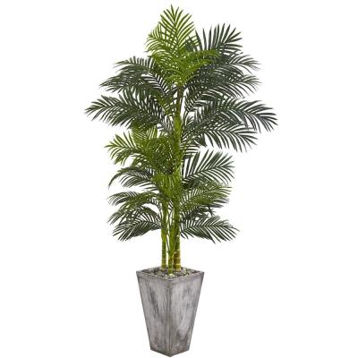 7 ft. Golden Cane Artificial Palm Tree in Cement Planter