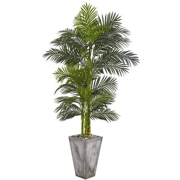 Nearly Natural 7 Ft Golden Cane Artificial Palm Tree In Cement Planter 9769 The Home Depot