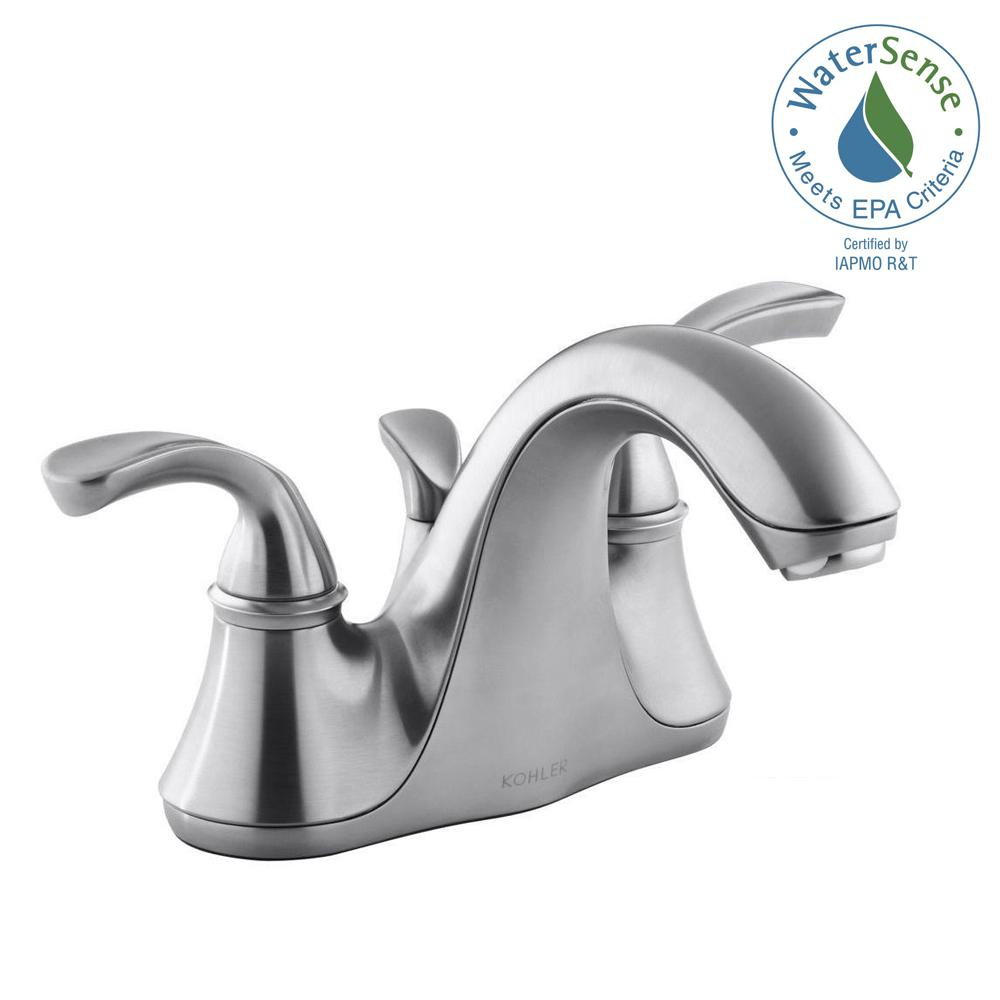 KOHLER Forte 4 in. Centerset 2-Handle Low-Arc Water-Saving Bathroom Faucet in Brushed Chrome with Sculpted Lever Handles