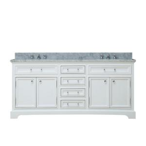 Water Creation 72 inch W x 22 inch D x 34 inch H Bath Vanity in White with Marble Vanity... by Water Creation
