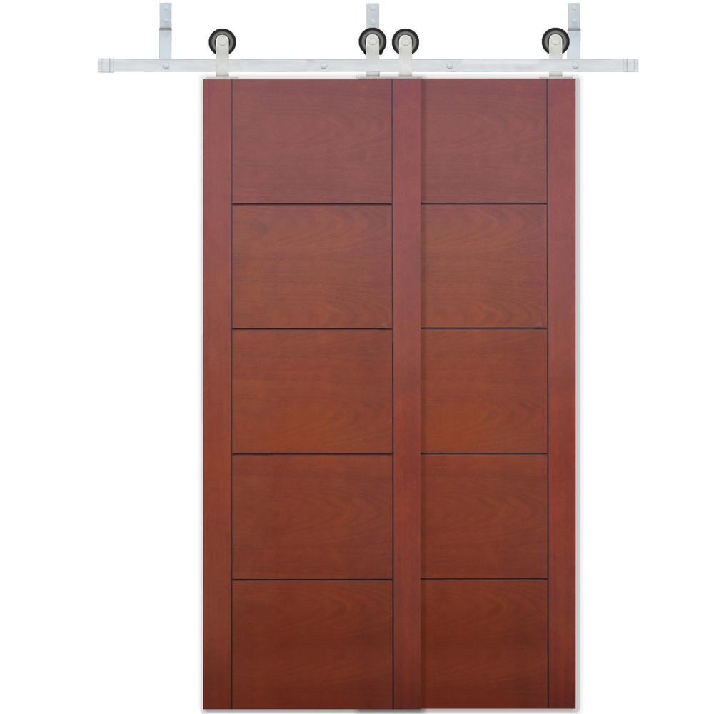 Pacific entries 48 in x 80 in bypass prefinished 5 panel - Prefinished mahogany interior doors ...