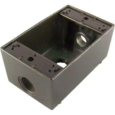 1 Gang Weatherproof Electrical Outlet Box with Three 1/2 in. Holes - Bronze