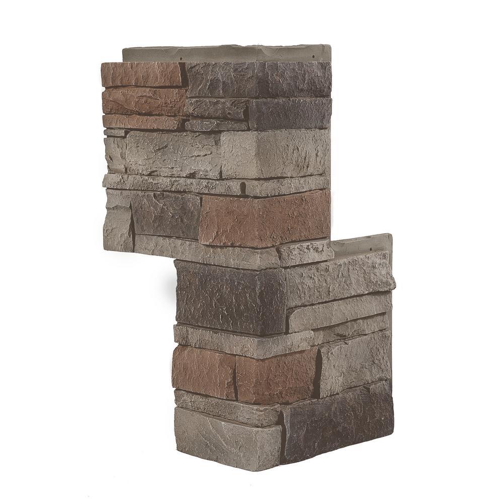 GenStone Stacked Stone Kenai 24 in. x 12 in. Faux Stone Siding Outside Corner Panel